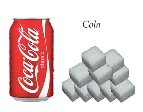 cola, suiker in glas