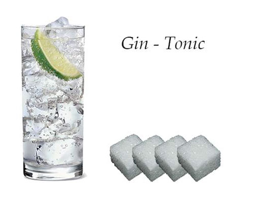 gin tonic, suiker in glas