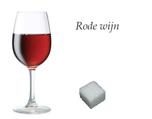 rode wijn, suiker in drank