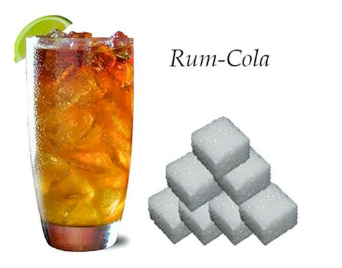 rum cola, suiker in glas