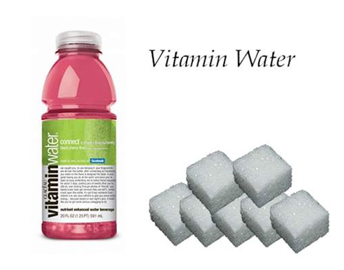 vitaminwater, suiker in glas