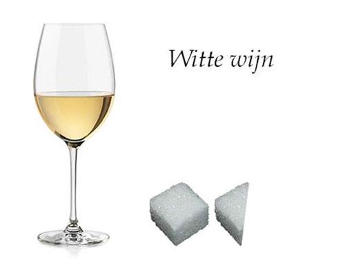 witte wijn, suiker in glas